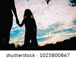 silhouette of father and... | Shutterstock . vector #1025800867
