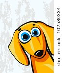 funny cartoon orange dachshund... | Shutterstock .eps vector #102580334