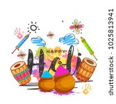indian holi traditional... | Shutterstock .eps vector #1025813941
