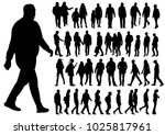 isolated silhouette of walking ... | Shutterstock . vector #1025817961