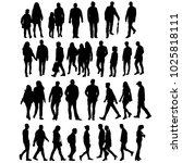 silhouette people go  collection | Shutterstock . vector #1025818111