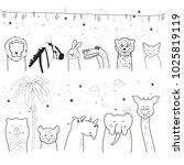 animal cartoon set isolated on... | Shutterstock .eps vector #1025819119