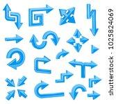 blue 3d arrows. set of... | Shutterstock .eps vector #1025824069