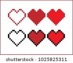 pixel heart  heart  pixel | Shutterstock .eps vector #1025825311