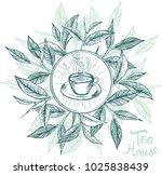 tea house. menu label with tea... | Shutterstock .eps vector #1025838439