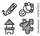 icons hand drawn toys. vector... | Shutterstock .eps vector #1025845015