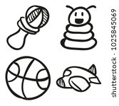 icons hand drawn toys. vector... | Shutterstock .eps vector #1025845069