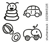 icons hand drawn toys. vector... | Shutterstock .eps vector #1025845135