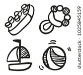 icons hand drawn toys. vector... | Shutterstock .eps vector #1025845159