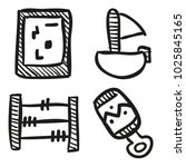 icons hand drawn toys. vector... | Shutterstock .eps vector #1025845165