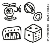 icons hand drawn toys. vector... | Shutterstock .eps vector #1025845669