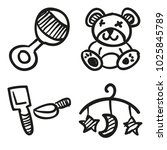 icons hand drawn toys. vector... | Shutterstock .eps vector #1025845789
