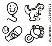 icons hand drawn toys. vector... | Shutterstock .eps vector #1025845921
