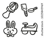 icons hand drawn toys. vector... | Shutterstock .eps vector #1025845969