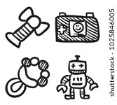 icons hand drawn toys. vector... | Shutterstock .eps vector #1025846005