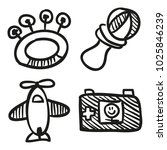 icons hand drawn toys. vector... | Shutterstock .eps vector #1025846239