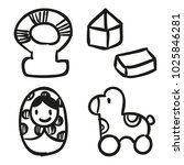 icons hand drawn toys. vector... | Shutterstock .eps vector #1025846281