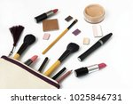 cosmetic bag with scattered... | Shutterstock . vector #1025846731