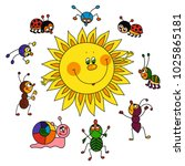 happy sun and bugs  nature ... | Shutterstock .eps vector #1025865181