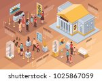 museum isometric infographics... | Shutterstock .eps vector #1025867059