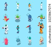 funny colorful aliens isometric ... | Shutterstock .eps vector #1025867074