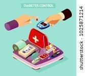 diabetes control isometric... | Shutterstock .eps vector #1025871214