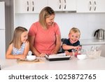 young attractive mother... | Shutterstock . vector #1025872765