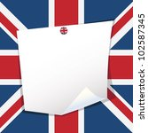 blank note paper with uk pin on ... | Shutterstock .eps vector #102587345