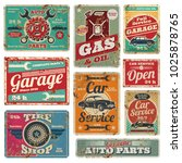 vintage car service and gas... | Shutterstock . vector #1025878765