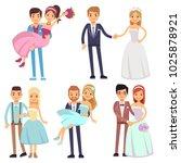 happy smiling wedding couples... | Shutterstock . vector #1025878921