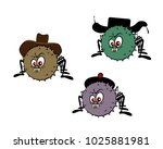 a set of three funny spiders in ... | Shutterstock .eps vector #1025881981