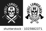 retro lumberjack emblem   skull ...   Shutterstock . vector #1025882371