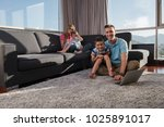 happy family. father  mother... | Shutterstock . vector #1025891017