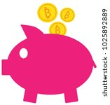 bitcoin crypto currency icon or ... | Shutterstock .eps vector #1025892889