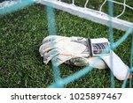 goalkeeper gloves in the grass... | Shutterstock . vector #1025897467