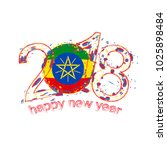 2018 happy new year ethiopia... | Shutterstock . vector #1025898484