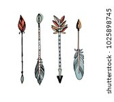 decorative tribal arrows... | Shutterstock . vector #1025898745
