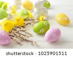 colorful easter eggs and spring ... | Shutterstock . vector #1025901511