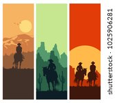 silhouette of cowboy couple... | Shutterstock .eps vector #1025906281