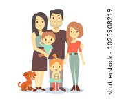 flat family with pets isolated... | Shutterstock . vector #1025908219