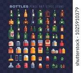different bottles pixel art 80s ... | Shutterstock .eps vector #1025910379