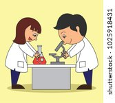 scientist man and woman doing... | Shutterstock .eps vector #1025918431