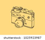 vintage camera on yellow old... | Shutterstock .eps vector #1025923987