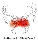 linear illustration of deer... | Shutterstock .eps vector #1025927674