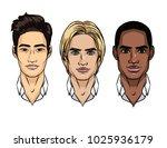 vector set of men's faces... | Shutterstock .eps vector #1025936179