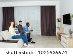 friends watching tv  friends in ...   Shutterstock . vector #1025936674