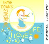 a girl with down's syndrome on... | Shutterstock .eps vector #1025941984