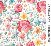 embroidery seamless pattern... | Shutterstock .eps vector #1025948317