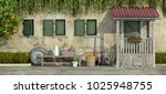 courtyard of an old house with... | Shutterstock . vector #1025948755
