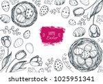 happy easter vintage frame....   Shutterstock .eps vector #1025951341